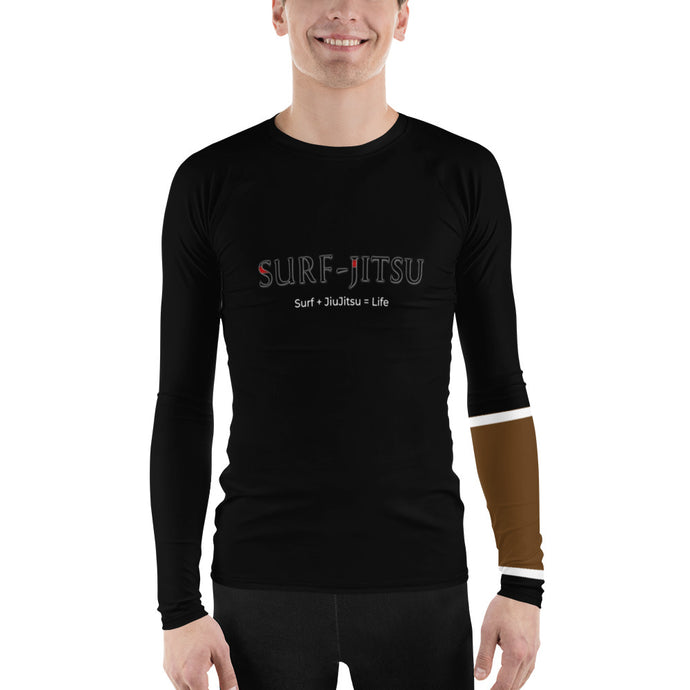 Men's Ranked BJJ or Surfing Surf-Jitsu Rash Guard - Brown Belt on Black