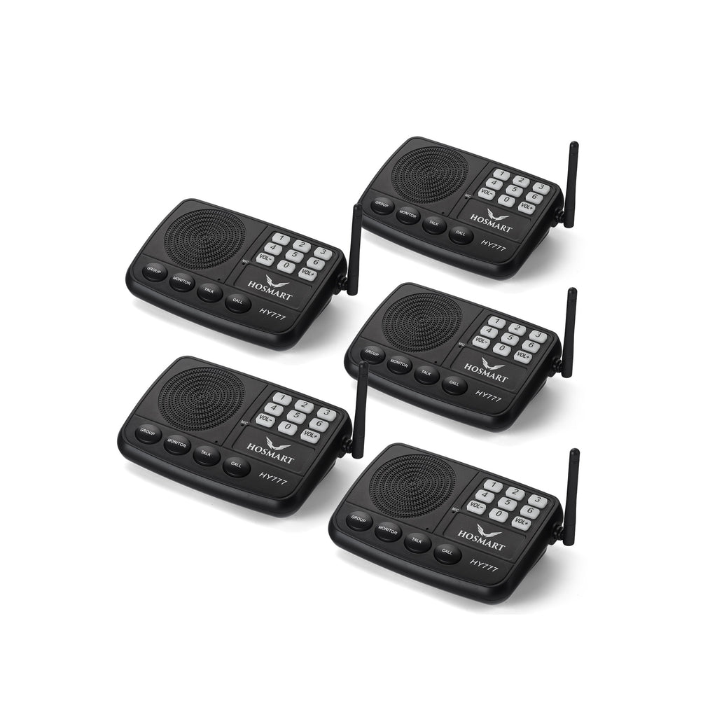 Wireless Intercom System Hosmart  7-Channel 1/2 Mile LONG RANGE Security Intercom System for Home or Office(5 units black)