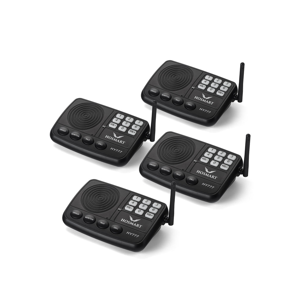 Hosmart  Wireless Intercom System for Home or Office 7-Channel 1/2 Mile LONG RANGE Security Intercom System(4 units black)
