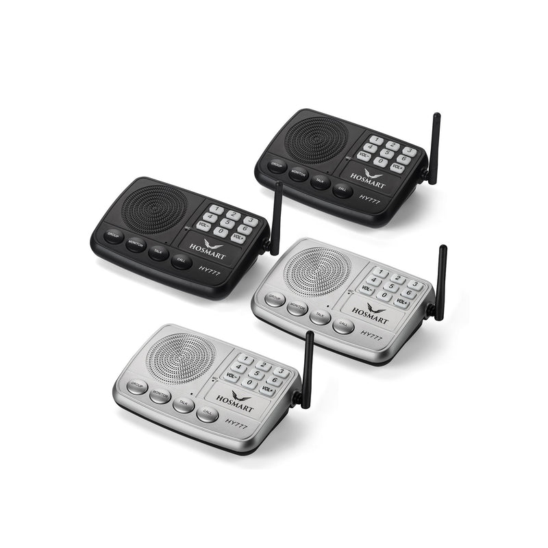 Hosmart Wireless Intercom System 7-Channel 1/2 Mile LONG RANGE Security Intercom System for Home or Office(4 units silver)