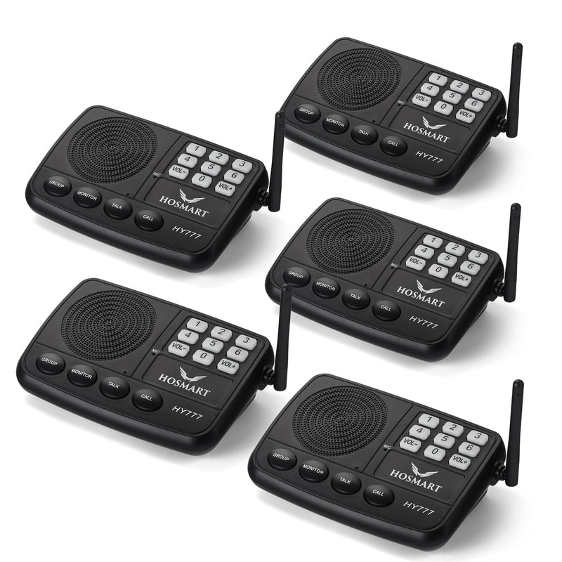 Wireless Intercom System Home Intercom System Hosmart HY777( 5 Stations Silver Black )