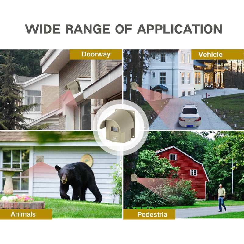 Driveway Alarm System Weatherproof Outdoor Motion Sensor & Detector Hosmart 1/4 Mile Rechargable Wireless Sensor System