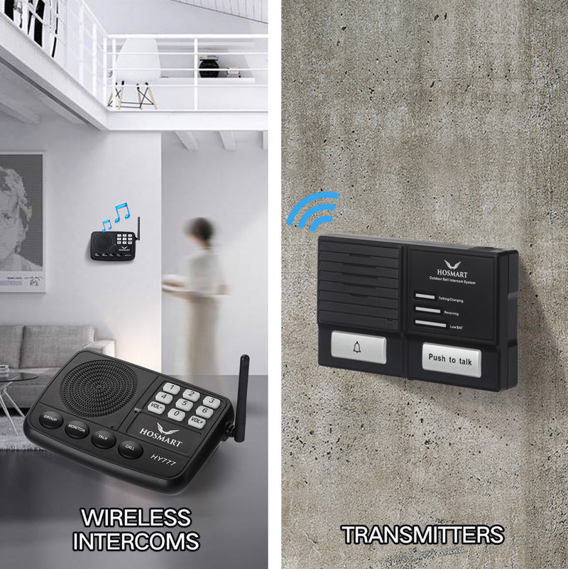 Wireless Doorbell and Intercom System Hosmart 1500FT -Weather/Waterproof Doorbell Intercom System