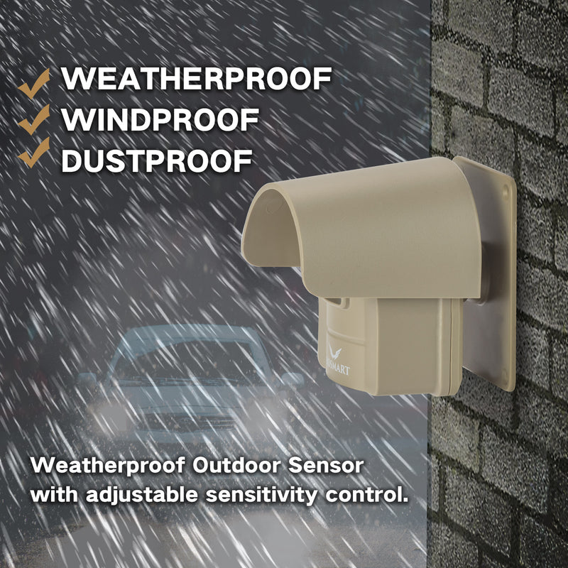 Hosmart  Driveway Alarm System 1/4 Mile Rechargable Wireless Sensor System Weatherproof Outdoor Motion Sensor & Detector