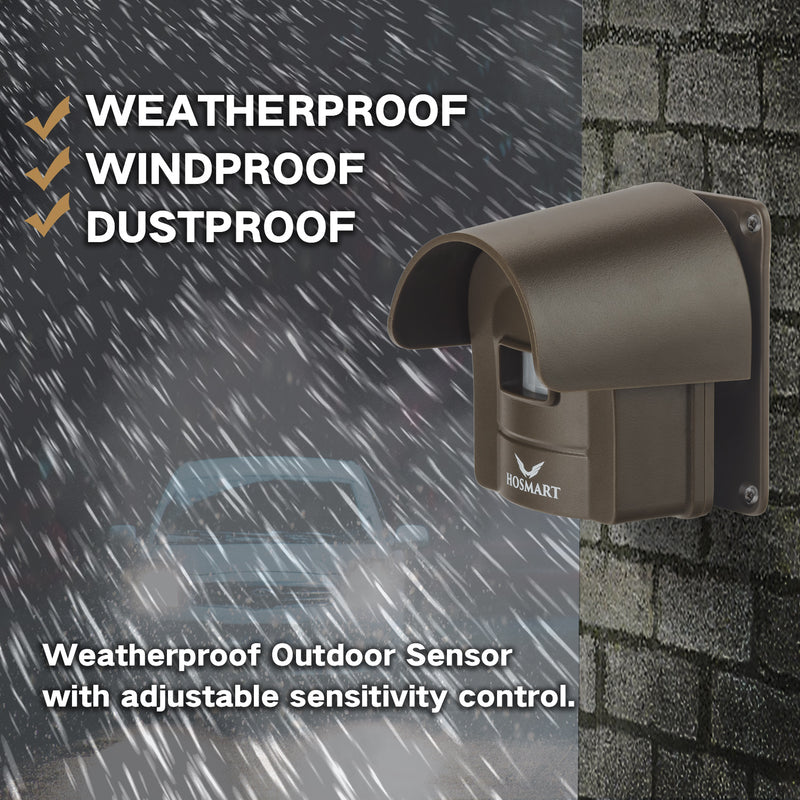 Rechargable Wireless Sensor System Hosmart Driveway Alarm System 1/4 Mile Weatherproof Outdoor Motion Sensor & Detector