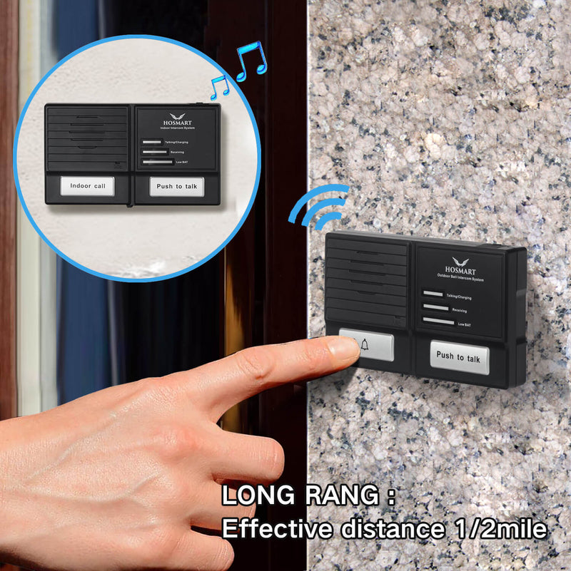 Hosmart Doorbell Intercom System 1500FT Wireless Doorbell and Intercom System-Weather/Waterproof