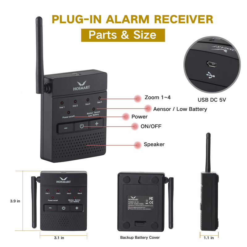 Driveway Alarm System Hosmart 1/4 Mile Weatherproof Outdoor Motion Sensor & Detector Rechargable Wireless Sensor System