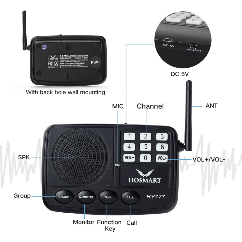 Wireless Intercom System Hosmart HY777 1/2 Mile LONG RANGE 7-Channel Security Wireless Intercom System for Home or Office(2 Stations Black)
