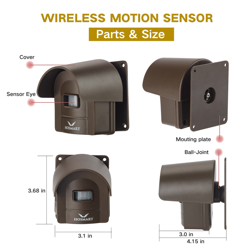 Hosmart 1/4 Mile Rechargable Wireless Sensor System Driveway Alarm System Weatherproof Outdoor Motion Sensor & Detector