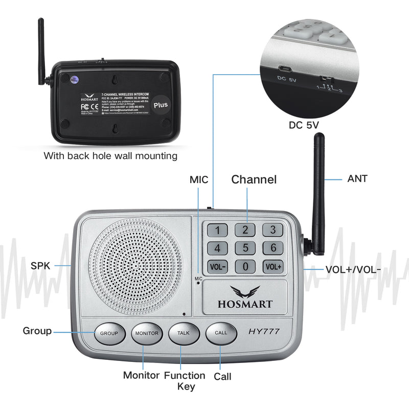 1/2 Mile Security Intercom System for Home or Office  Hosmart  7-Channel LONG RANGE  Wireless Intercom System (3 units sliver)