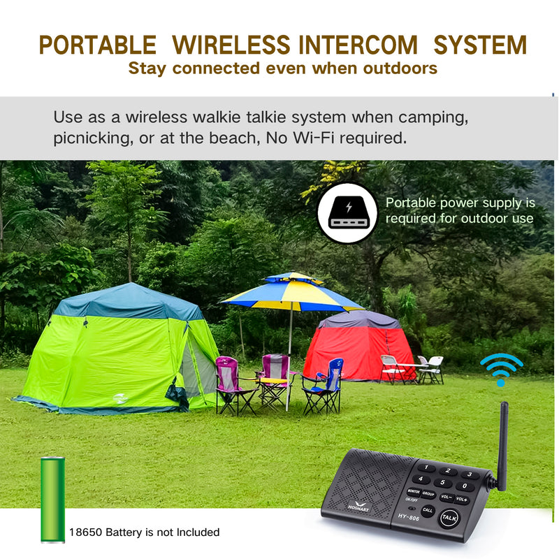 Hosmart Portable Wireless Intercom System 1/2Mile 6-Channel Security Wireless Intercom System for Home or Office [5 Stations Black]