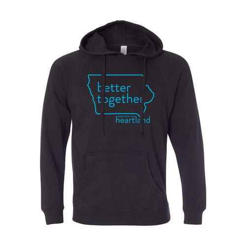 Better Together Pullover Hoodie Bright Blue Print