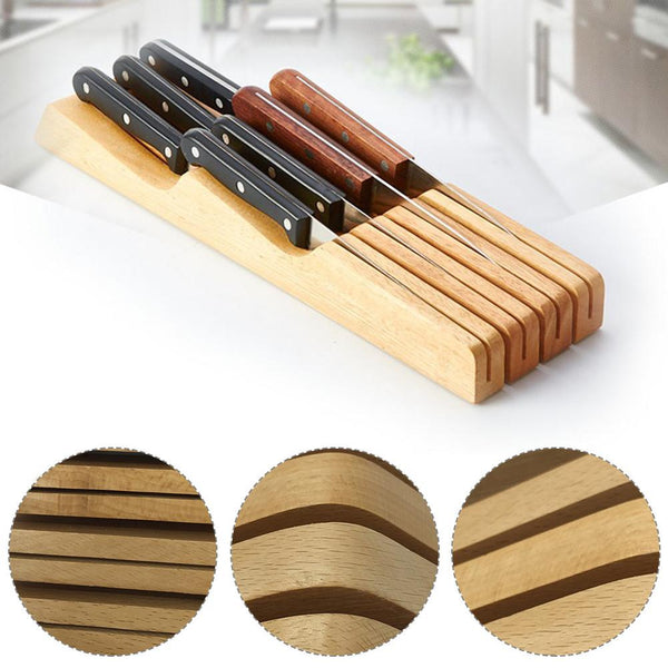 Wood Knife Storage Rack Organizer Tool