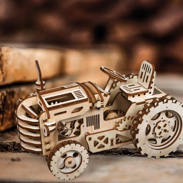 Creative DIY Gear Drive Tractor 3D Wooden Model
