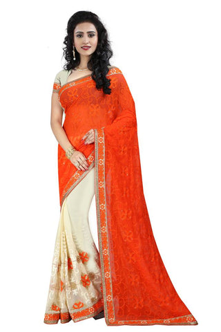 Orange Georgette Embroidered Designer Half And Half Woman'S Saree