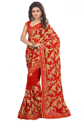 New Arrival Red Wedding Wear Women's Saree