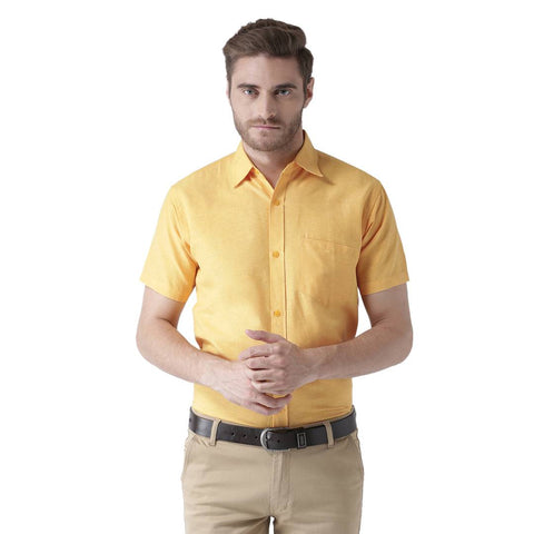 Yellow Cotton Half Sleeve Solid Formal Shirt