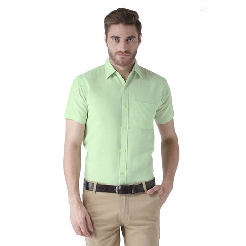 Green Cotton Half Sleeve Solid Formal Shirt