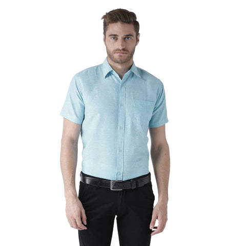 Blue Cotton Half Sleeve Solid Formal Shirt