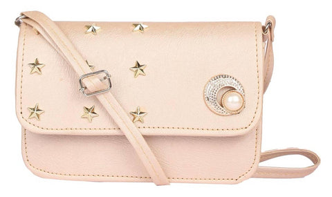Faux Leather Cream Embellished Magnetic Snap Sling Bag