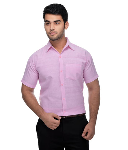 Pink Cotton Solid Regular Fit Formal Shirt