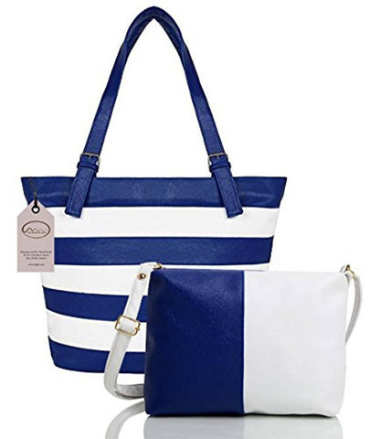 Blue Striped  Handbag with Sling Bag