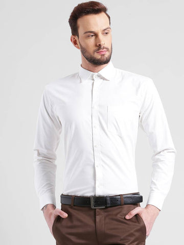 White Cotton Solid Regular Fit Formal Shirt