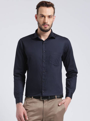 Navy Blue Cotton Solid Regular Fit Formal Shirt