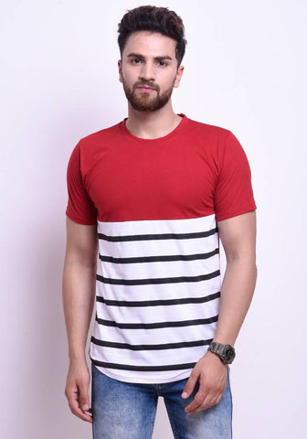 Multicoloured Striped Cotton Half Sleeves T-Shirt - Trend Eve