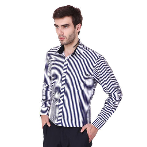 Blue Long Sleeve Striped Formal Shirt - Trend Eve