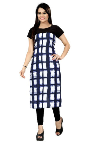 Stylish Printed Straight Cut Crepe Kurti