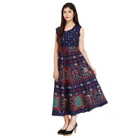 Women Cotton Printed Stitched Jaipuri Kurti Free Size