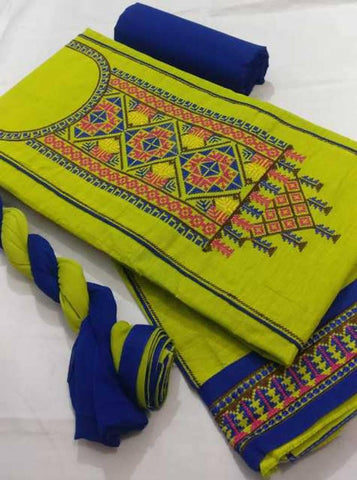 Stylish Cotton Blend Embroidered Dress Material With Dupatta