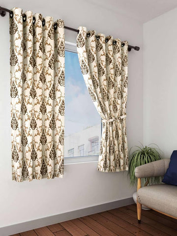 Design Premium Quality Polyester Window Curtains Pack of 2 - Multicolor