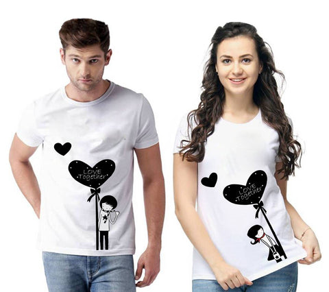 White Cotton Blend Round Neck Printed Couple T-Shirts for Men & Women - Trend Eve