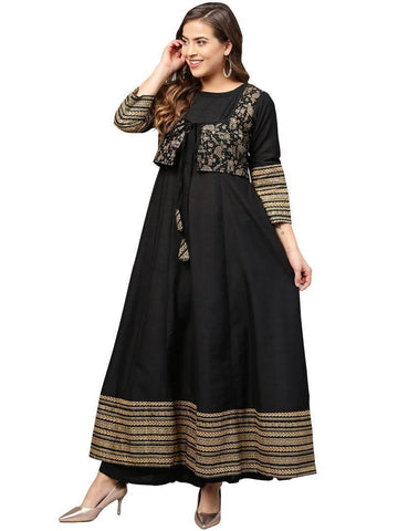 Black Printed Anarkali Poly Silk Kurta With Attached Jacket