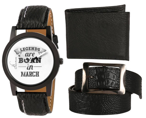 Black Legends Collection Wrist Watch With Black Wallet and Belt