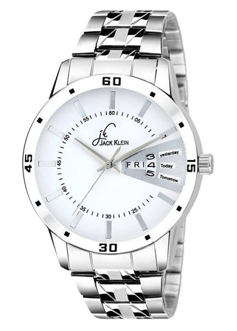 Elegant White Dial Silver Chain Day And Date Working Analog Wrist Watch