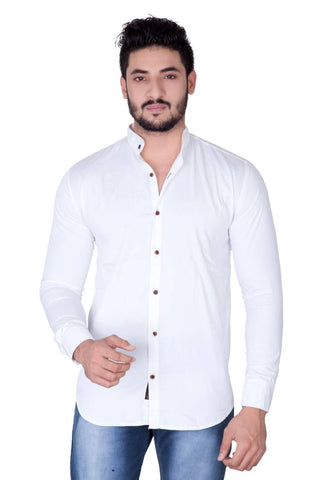 Jugend White Cotton Long Sleeves Mandarin Collar Casual Shirts