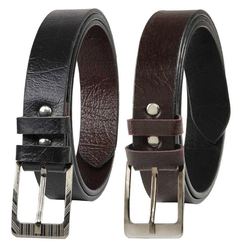 Pack Of 2 Multicoloured Leatherette Formal Belt For Men's