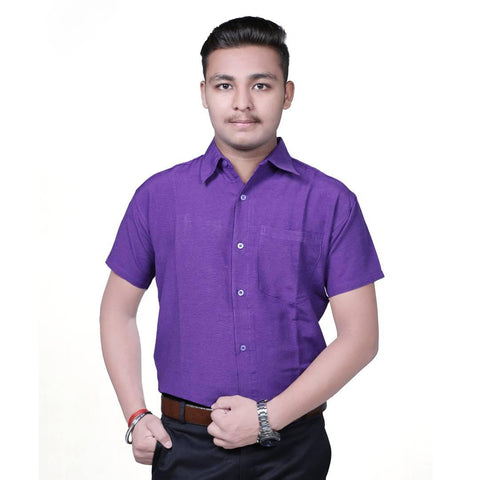 Purple Cotton Solid Short Sleeve Formal Shirt - Trend Eve