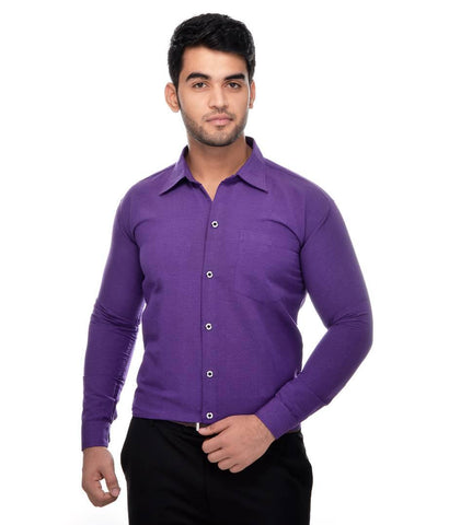 Purple Cotton Solid Long Sleeve Formal Shirt - Trend Eve