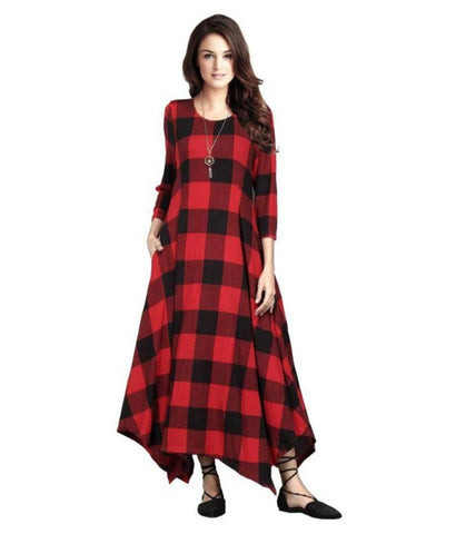 Stylish Ethnic Anarkali Checked Kurti