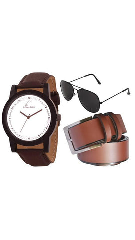 Stylish  Strap Formal Wrist Watch With  Belt And Aviator Glasses