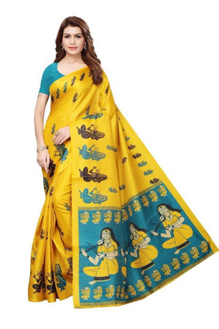 Yellow COlour Art silk saree