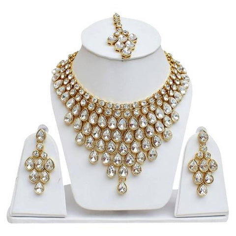 White Colour Kundan Necklace With Earring and Maangtika