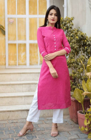 Stylish Cotton Solid Thread Work Kurta