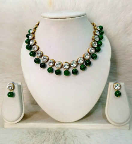 Kundan and Green Glass Bead Necklace With Earrings for Women and Girls