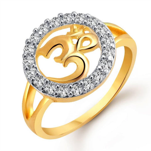 Auspicious Om (CZ) Gold and Rhodium Plated Alloy Ring for Women and Girls - [VFJ1021FRG] - Trend Eve