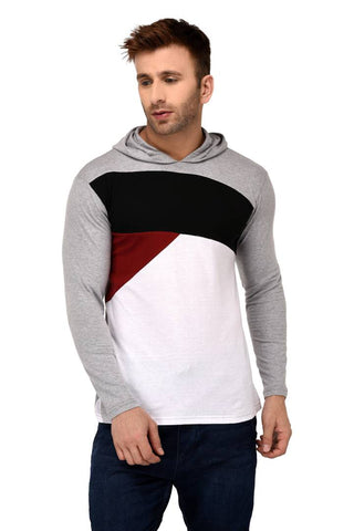 Multicoloured Cotton Colourblocked Hooded Tees - Trend Eve